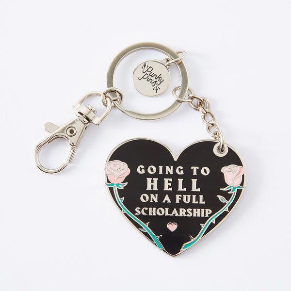 Going to Hell On A Full Scholarship Enamel Keyring