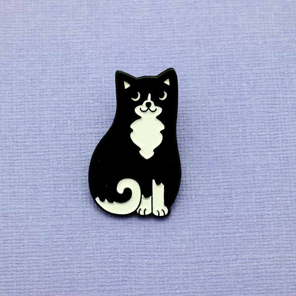 Black & White Cat Enamel Pin