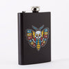 Punky Pins Death Head Moth Tattoo Tall Black Hip Flask