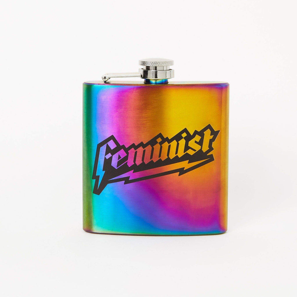Punky Pins Iridescent Feminist Hip Flask