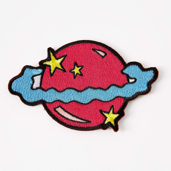 Punky Pins Planet Pink Iron On Patch