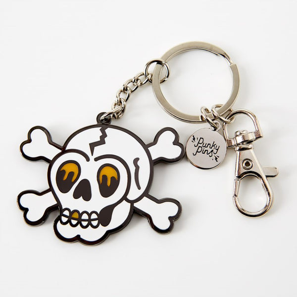 Skull and Crossbones Enamel Keyring