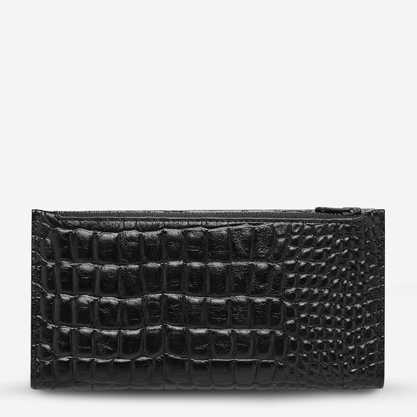 In The Beginning Wallet-Black Croc Emboss