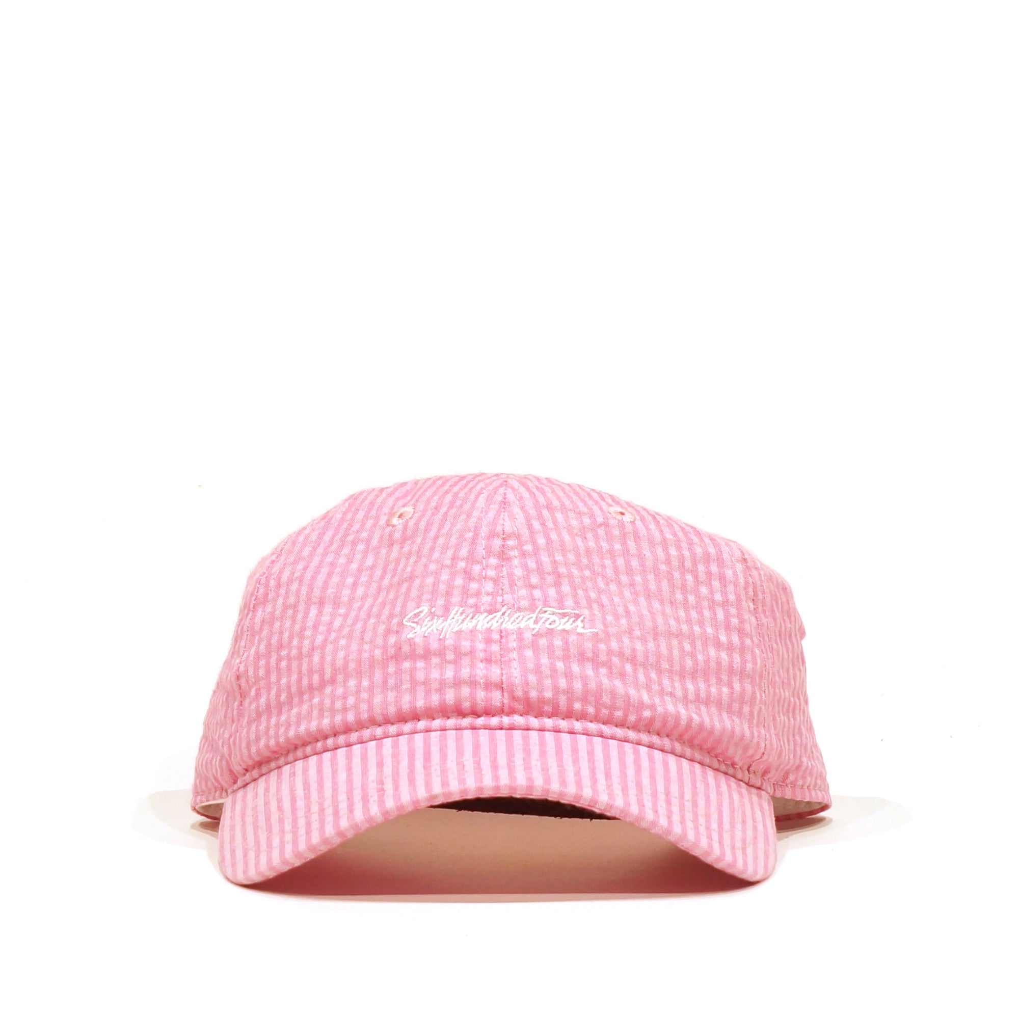 Curved Low Rise Hat - Seersucker Pink
