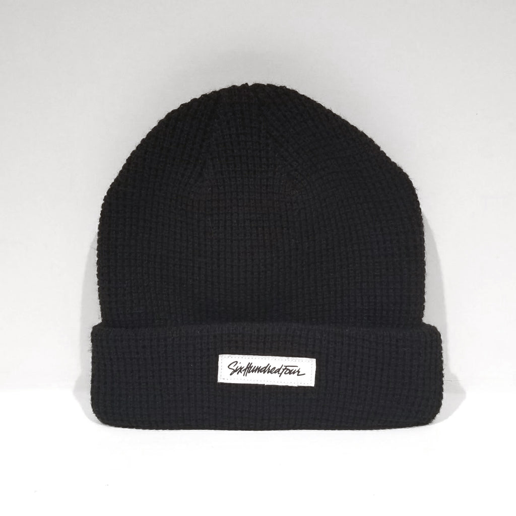 Branded Ribbed Beanie - Black