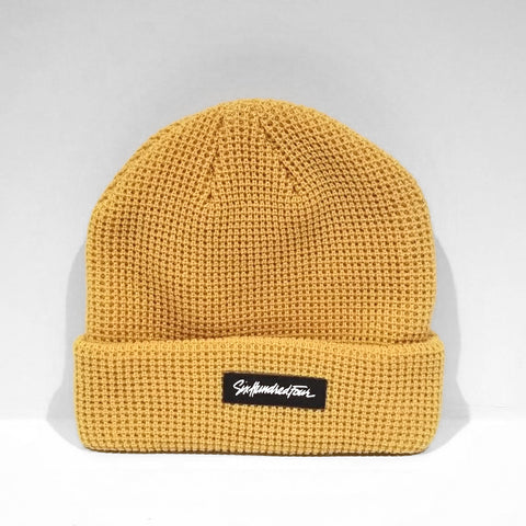 Branded Ribbed Beanie - Mustard