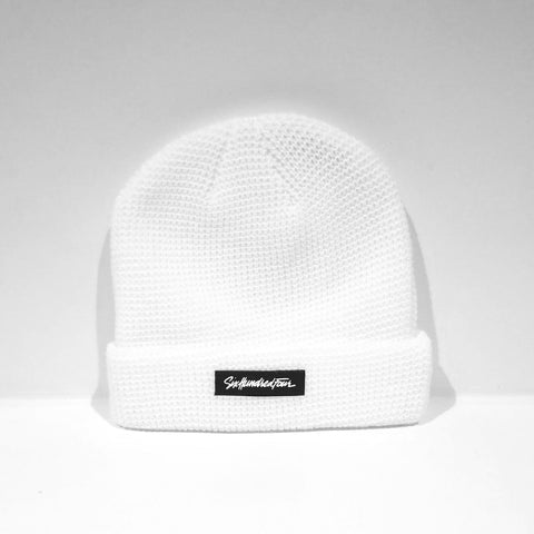 Branded Ribbed Beanie - White