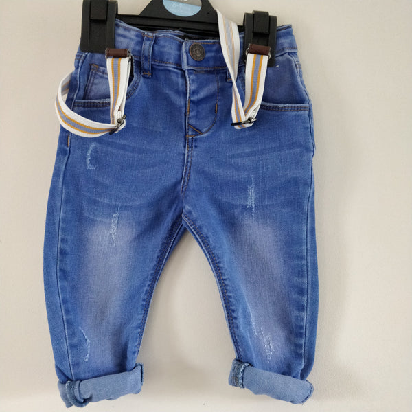 A27055 Boys 6 - 9 months Denim co adjustable waist