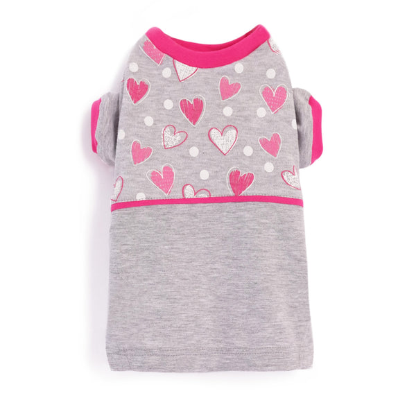 Lovely Dog  Tee made from stretch fabric with rib-knit cuffs and collar, elastic waistband. Perfect color blocking. Mini Hearts Print Dog Tee. Cute Tee for Dogs. Composition: 100% Cotton (stretch fabric).