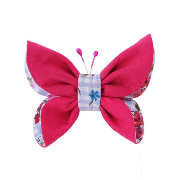 Pretty and unique butterfly hair bow  for pets made from 100% cotton fabric (inside: floral print fabric, outside: gorgeous raspberry pink color). Two cute antennas. Available on a French Barrette Clip or Alligator Clip. Beautiful dog hair bow. Beautiful handmade hair accessory.