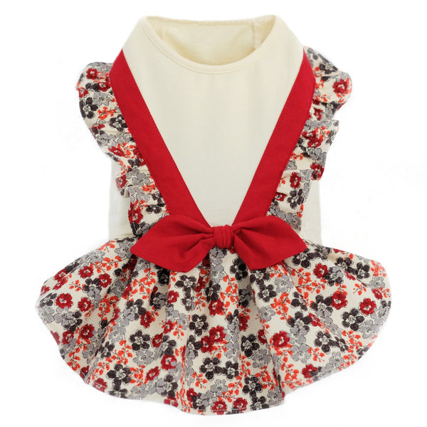 A charming floral print Dog Dress featuring stylish ruffle details and a cute bow tie on the back. Pleated ruffle skirt.