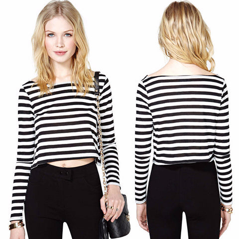 be69488759 Cool Stylish Stripe Scoop Neck Crop Top