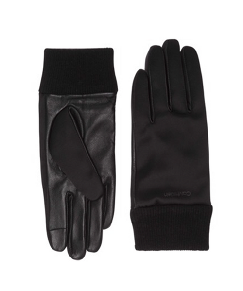 Satin & Leather Gloves Calvin Klein