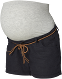 Braided Belt Linen Maternity Shorts NAVY