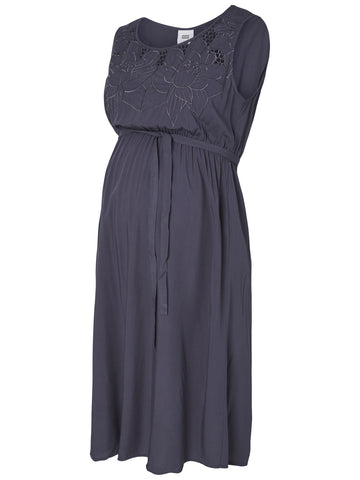 Blue Mivana Cap Lace Detail Maternity Dress