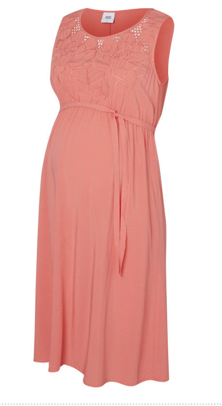 Sillo Short Sleeved Lace Detail Coral Maternity Occasion Dress