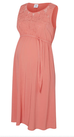 Mivana V Neck Lace Maternity Occasion Dress