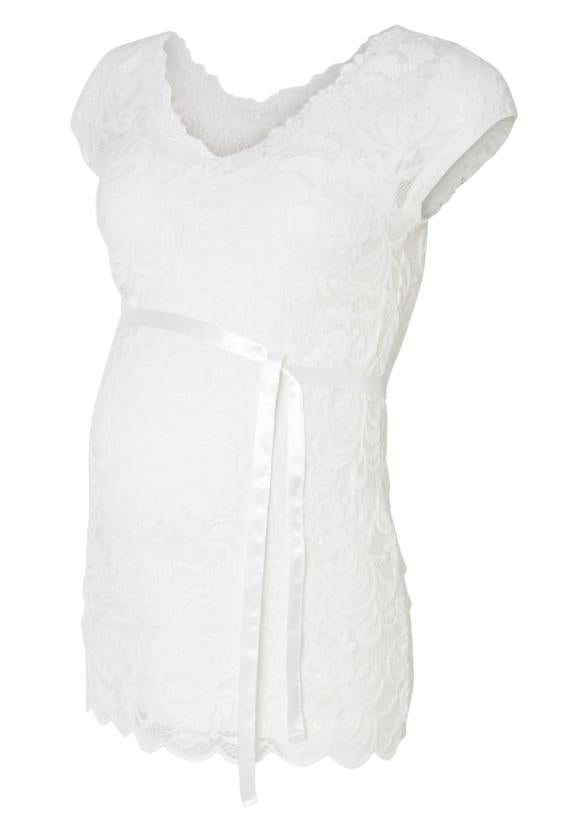 Mivana Cap Sleeved Lace Maternity Occasion Top -White