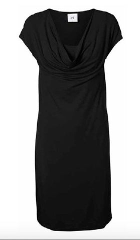 Sofia Basic Long Sleeved Cotton Jersey T-Shirt Style Maternity Dress Black