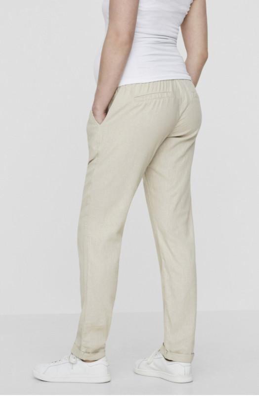 Beige Linen Maternity Under the Bump Summer Trousers
