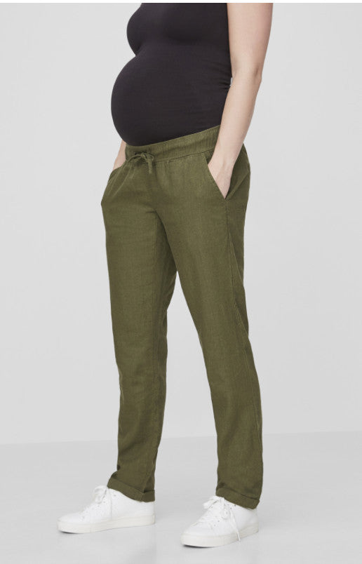 Ivy Green Linen Maternity Under the Bump Summer Trousers