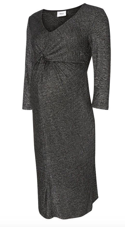 Glitter 3/4 Sleeved Jersey Evening / Party Maternity dress - Black