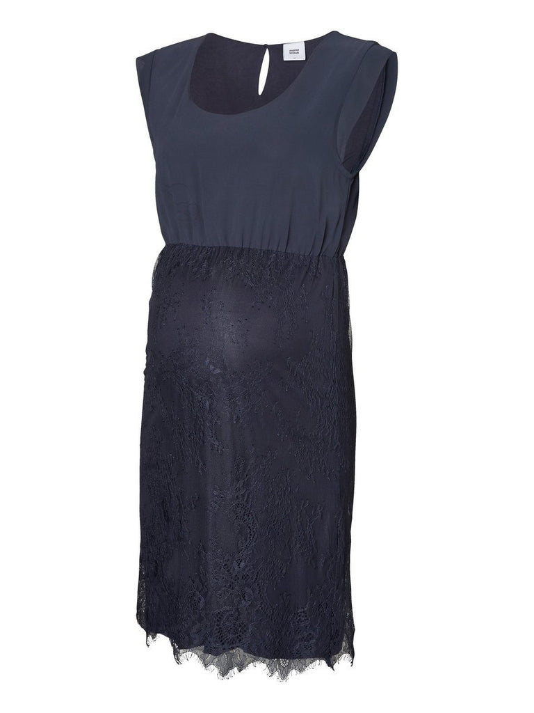 Lacer Chiffon & Lace Formal Cocktail Party Occasion Wedding Guest Maternity Dress Dark Blue