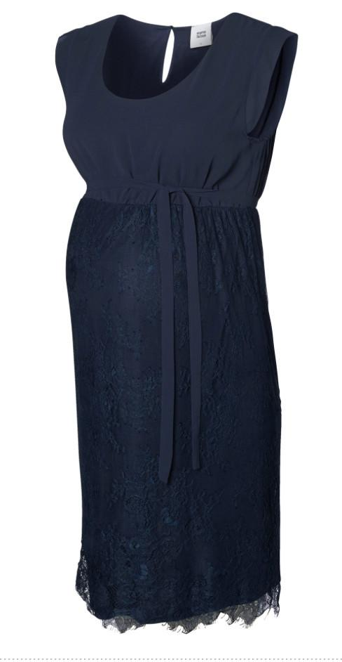 Chiffon & Lace Formal Maternity Occasion Dress - Dark Blue