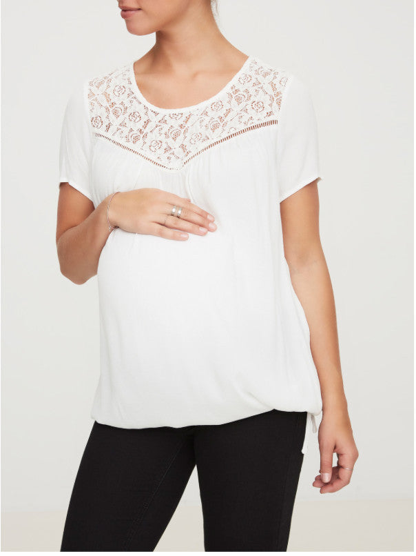 Maggie Short Sleeved Lace Trimmed Maternity Top