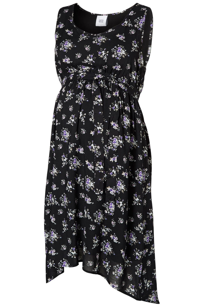 New Milly SL Woven Lighweight Dip Hem Maternity Dress Black Floral