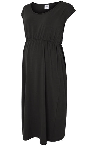 Water Silky Soft Barely There Knit Black Maternity Dress