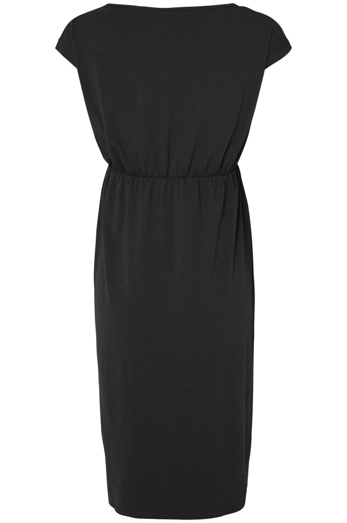 Peri Short Sleeved Black Jersey Dress