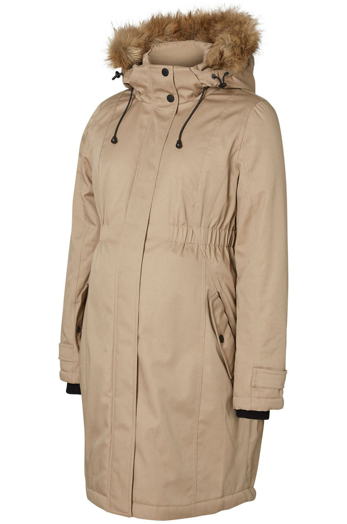 Polar Warm Winter Maternity Jacket With Hood - Cream