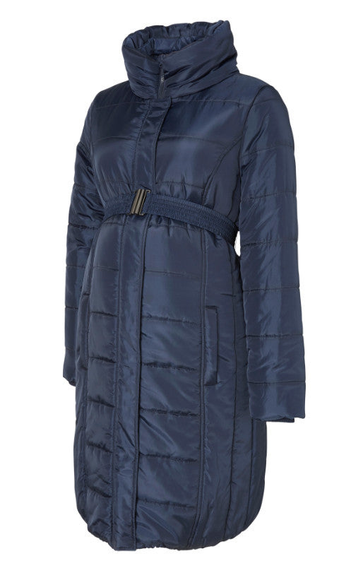 Quilty Longer Length Padded Maternity Coat -  Navy Blue