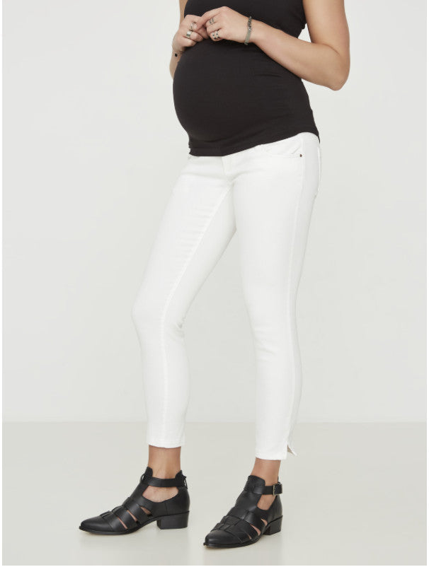 Sigga Slim White cropped Maternity Jeans