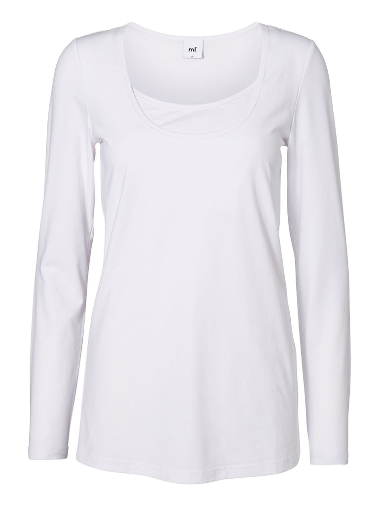 Sofia Basic Cotton Long Sleeve Maternity T-Shirt Top Pure White