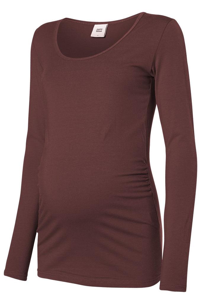 Sofia Basic Cotton Maternity T-Shirt Top Chocolate Fudge