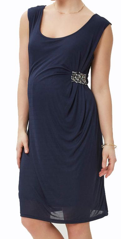 Stud Blue Party Occasion Evening Wear Maternity Faux Wrap Dress