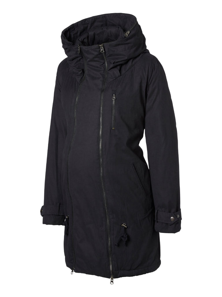 Tikka Padded Double Zipped Maternity & Beyond Hooded Winter Coat Black (Very Warm)