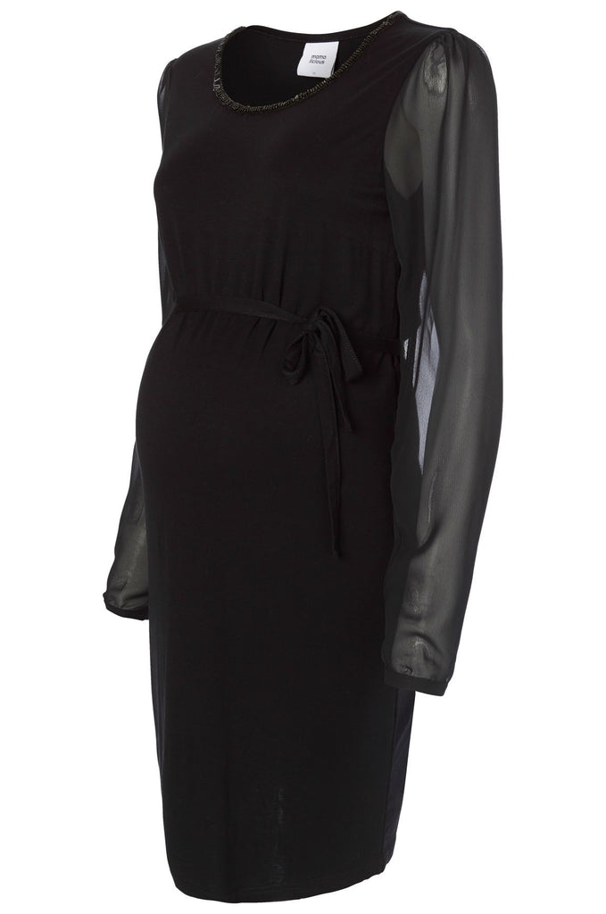 Wima Formal Cocktail Evening Black Maternity Dress with Beaded Detail