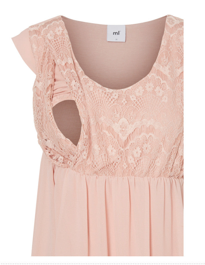 Yam Mary Cap Sleeved Lace Detail Nursing Occasion Dress