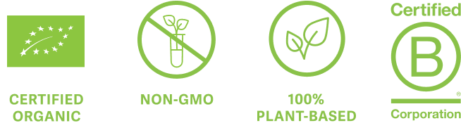 Certified Organic, Non-GMO, 100% Plant-Based, Certified B-Corp