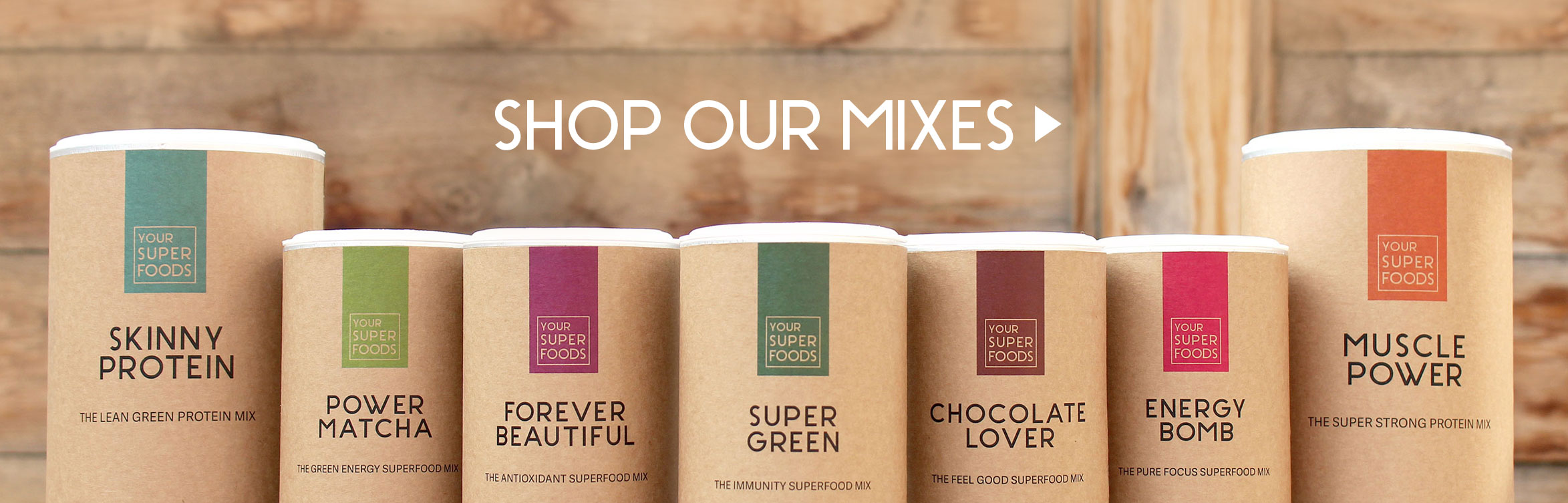 Shop our mixes - Vegan protein, spirulina, matcha, forever beautiful, chocolate lover, muscle power