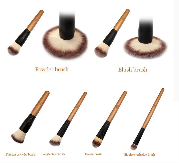 15 Pcs Golden Brush Set