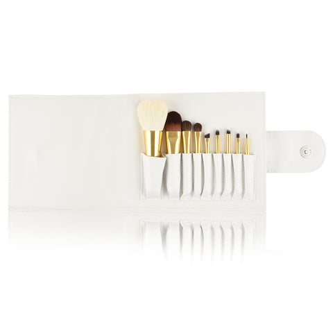 9 Pcs Brush Set with Leather Bag