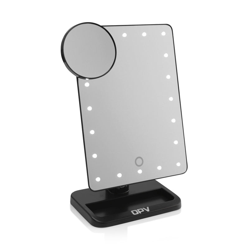 Black OPV Touch XL Dimmable LED Makeup Mirror with Detachable Round Mirror