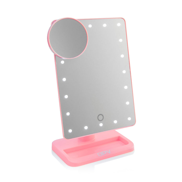 Pink OPV Touch XL Dimmable LED Makeup Mirror