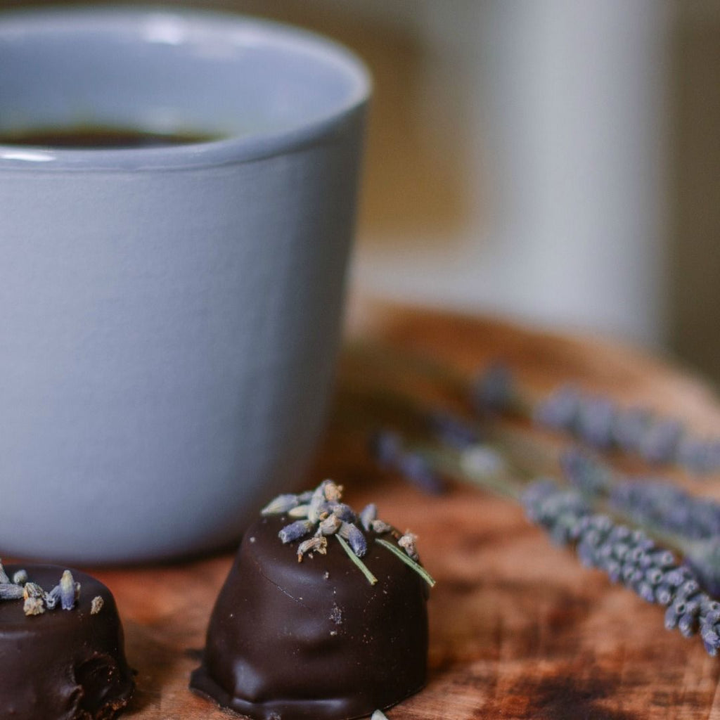 Bridestowe Lavender Estate Tea with Lavender Infused Chocolate at Tasmanian Lavender Gifts