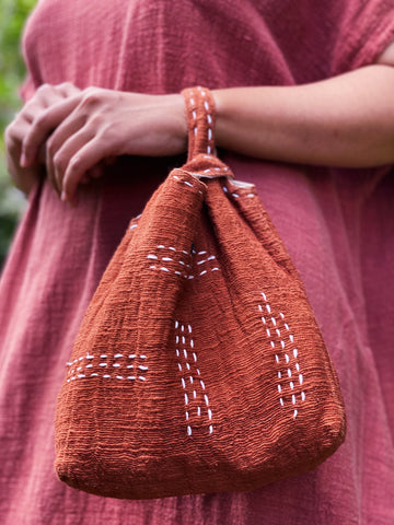 Enigma Handwoven Plant Dyed Bag - Terracotta