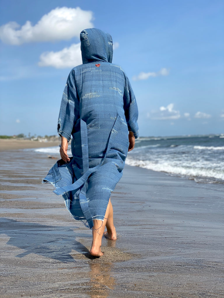 Brooklyn Handcrafted Hooded Kimono Wrap - Genderless in Dirty Blue (Maxi)